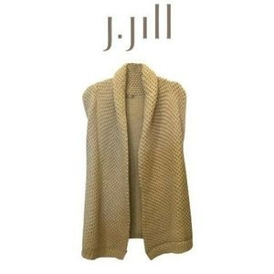 J. Jill Sleeveless Shawl Collar Crochet Cardigan